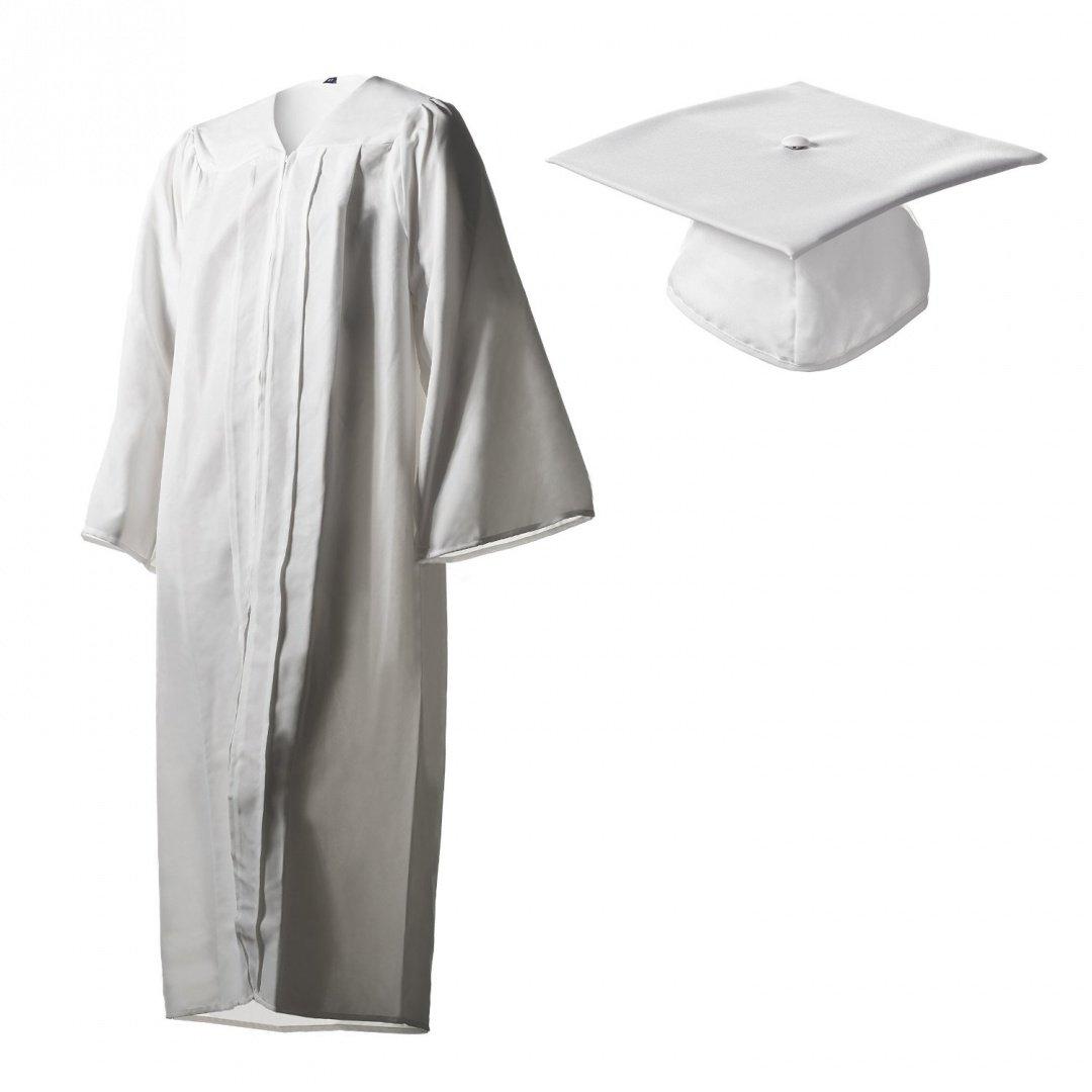 Amazon.com: Graduation Cap and Gown Set Matte White in Multiple ...