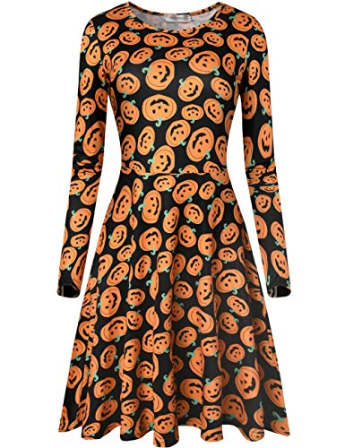 Melynnco Women's Long Sleeve Halloween Costumes Casual Printed Flare Party Dress Pumpkins -