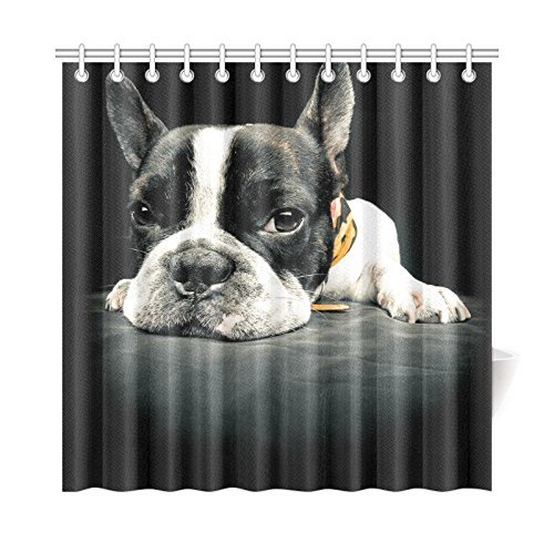 Amazon INTERESTPRINT Cute French Bulldog Bathroom Accessories Shower Curtain With Hooks 72 Inches Long Home Kitchen