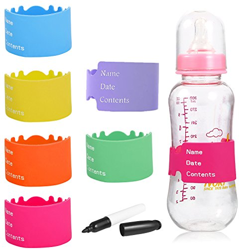 verygoo Baby Bottle Labels, Durable Writable Reusable Silicone Bottle Labels for Baby Daycare(6 pieces Multicolors) ()