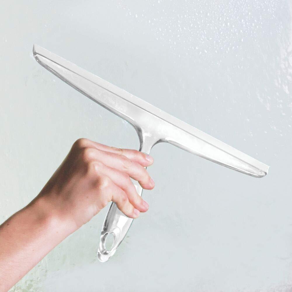 blau robuster Fensterabzieher aus Kunststoff optimaler Abzieher f/ür die Duschkabine mDesign 2er-Set Duschabzieher mit Saugnapf