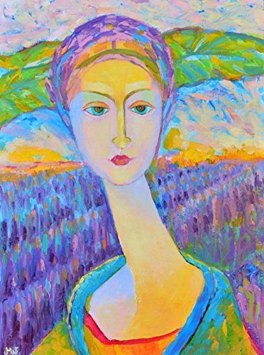 Oil paintings for living room small on canvas original art work Female portraits canvas art original (Iris Plaque)