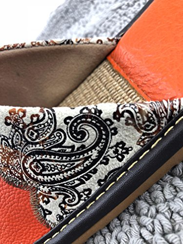 Bord Femme Maison Classique Jeunesse Fille Pantoufles Fleurs Cuir Jardin Sytle Léger Anti Mode Bohême Orange Lin glissant Osvino 0qvdZHw0