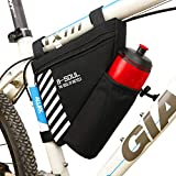 YF-TOW Bike Triangle Frame Bag with Water Bottle Pouch Water Resistance Polyester Front Tube Bag Saddle Bag for Road Bicycle and Most Types of Bike