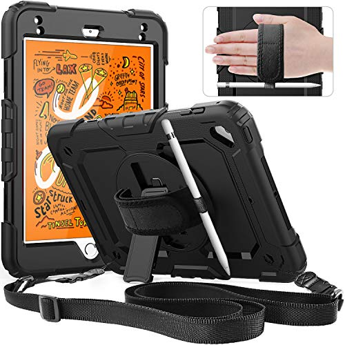 iPad Mini 5 Case, iPad Mini 5th Generation Case,SXTech Shockproof, 360 Degree Rotation Kickstand,[Pencil Holder] Hand Strap,Shoulder Strip,Built-in Screen Protector Case for iPad Mini 4/5 7.9''-Black