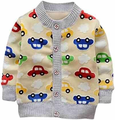 302c6134c MRxcff Winter Baby Boy Coats Warm Clothes Cartoon Car Pattern Button  Cashmere Knitting Clothing