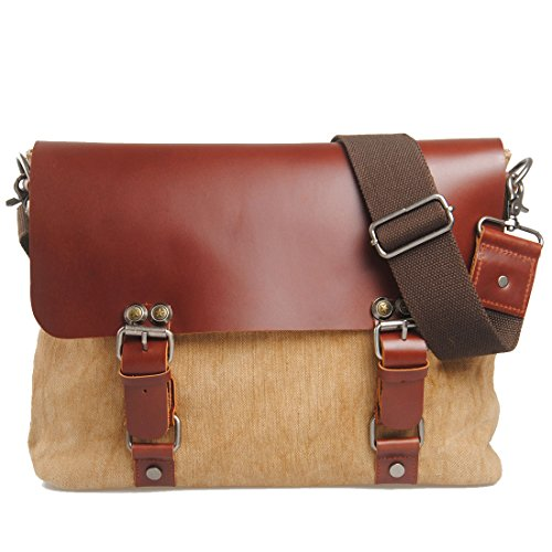 Men's Casual Khaki Shoulder Bag Messenger Burlap Bag Business Briefcase