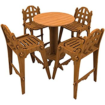 Bamboo Bar Set (1 High Top Table and 4 Chairs), Palladian Style Furniture