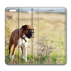 iPhone 6 Case, iPhone 6 Leather Case, Fashion Protective PU Leather Slim Flip Case [Stand Feature] Cover for New Apple iPhone 6(4.7 inch) - Lonely Boxer Dog