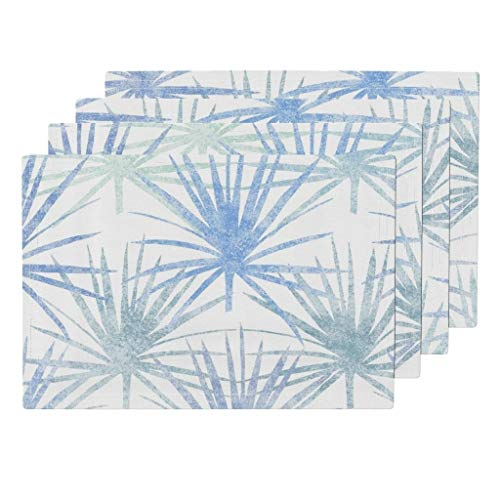 Promini Heat-Resistant Placemats, Saw Palmettos Blue On White Jumbo Washable Polyester Table Mats Non Slip Washable Placemats for Kitchen Dining Room Set of 4