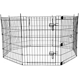 """AmazonBasics Foldable Metal Pet Exercise and Playpen with Door, 30"""""""