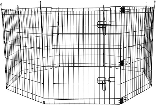 AmazonBasics Foldable Metal Pet Exercise and Playpen with Door, (Indoor Pet Kennels)