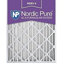 Nordic Pure 16x20x4M8-1 MERV 8 Pleated AC Furnace Air Filter, 16x20x4, Box of 1