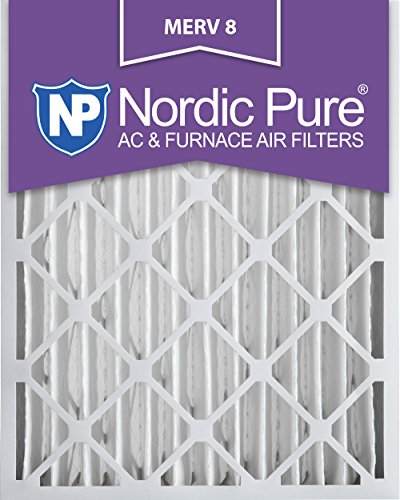 Nordic Pure 16x20x4M8-2 MERV 8 Pleated AC Furnace Air Filter, 16x20x4, Box of 2