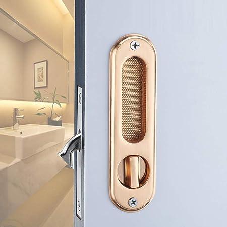 ZHFC Inicio Cocina baño Puerta corredera Cerradura Hardware Zinc aleación construcción Silent Mechanical Lock Seguridad Puerta de Madera Maciza Conjunto manija: Amazon.es: Hogar