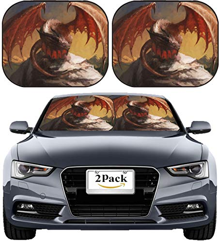MSD Car Sun Shade Windshield Sunshade Universal Fit 2 Pack, Block Sun Glare, UV and Heat, Protect Car Interior, Image ID: 11742634 ()