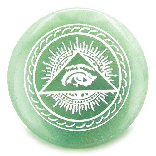 All Seeing Third Eye Amulet Green Quartz Gemstone Circle Spiritual Powers Keepsake Individual (Talismans Totem)