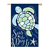 Evergreen Seas the Day Sea Turtle Outdoor Safe Double-Sided Applique House Flag, 28 x 44 inches