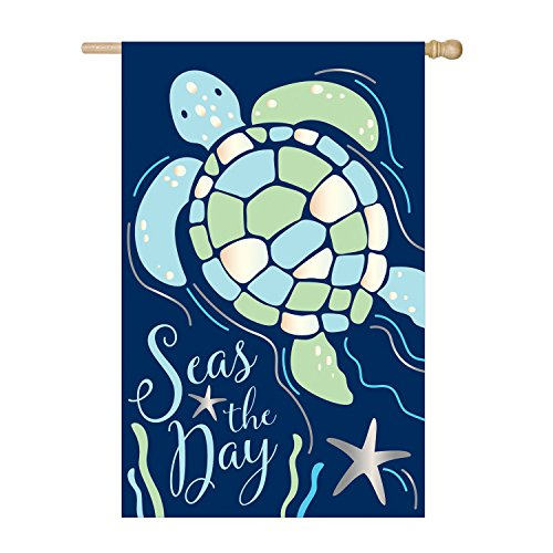Evergreen Seas The Day Sea Turtle Outdoor Safe Double-Sided Applique House Flag, 28 x 44 - Applique House