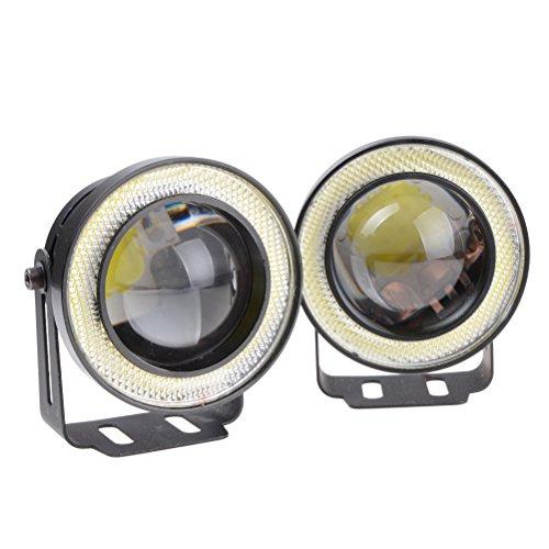 "2pcs 3.0"" High Power Car White COB Angel Eye Halo Ring Glass Projector LED Fog Light Set"