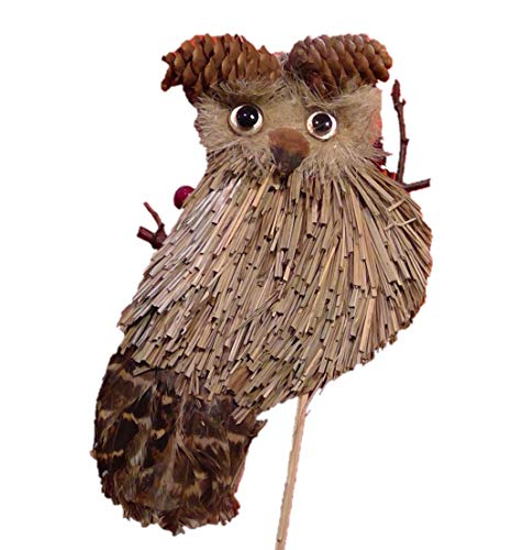 (Flat Owl Pick Pinecone, Straw and Feather Made 10