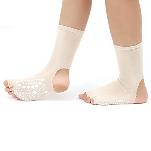 Amazon.com: PinkBTFY Womens Yoga Socks Open Toe Non Slip Cotton Calcetines Fitness Compression Socks Beige: Clothing