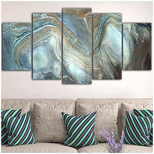 WSTDSM 5 Pcs Marble Wall Art Picture Blue Canvas Prints Poster Waterproof Ink Painting Abstract Poster Obrazy Toile Mural (no Frame 40x60x2 40x80x2 40x100cm)
