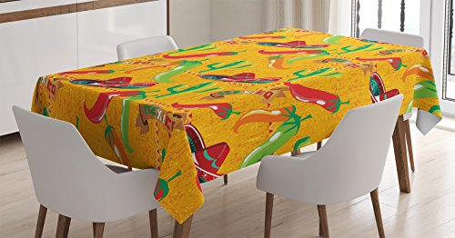 Mexican Decorations Tablecloth by Ambesonne, Elements with Cactus Hat Chili Pepper Pattern over Grunge Background Print, Dining Room Kitchen Rectangular Table Cover, 52W X 70L Inches, (Chili Pepper Hat)