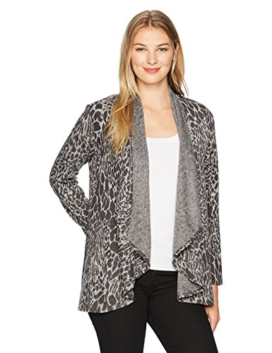 - Ruby Rd. Women's Cascade Collar Leopard Heathered Metallic Knit Cardigan, Charcoal Combo, XLarge
