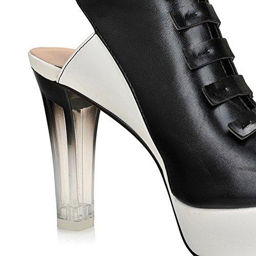 Solid Toe Peep Soft Material Black Sandals Heels AmoonyFashion Womens High Buckle B8Aq4FpFH