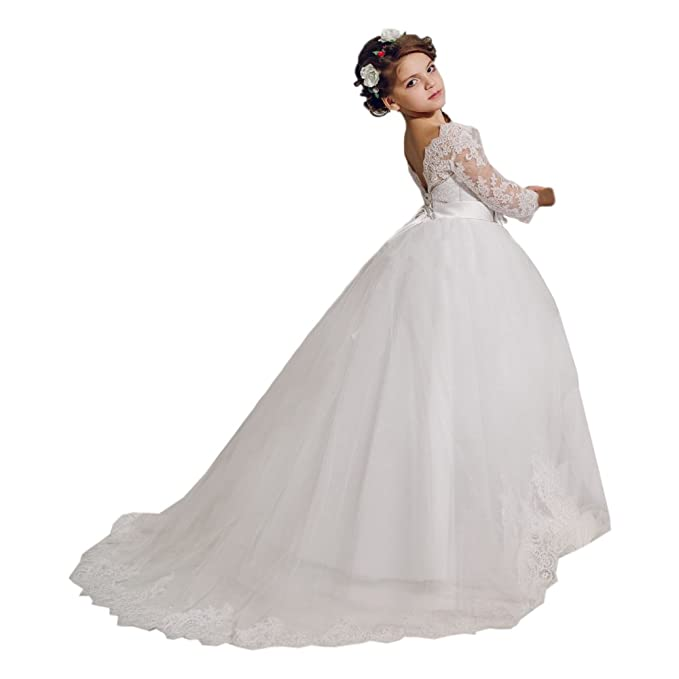 Holy First Communion Girls Dress with Train 0-12 Year Old White Size ...