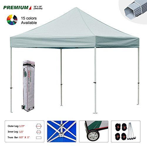 New Eurmax 10x10 Ft Premium Ez Pop up Instant Canopy Sun Shade Shelter Outdoor Party Tent Gazebo Commercial Grade Bonus Roller Bag (Grey)