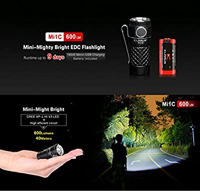 Klarus Mi1C SUPER BUNDLE w/LED Compact Every Day Carry Flashlight, 16340 USB-Rechargeable Battery, USB Cable, Pocket Clip, and USB Mini Light