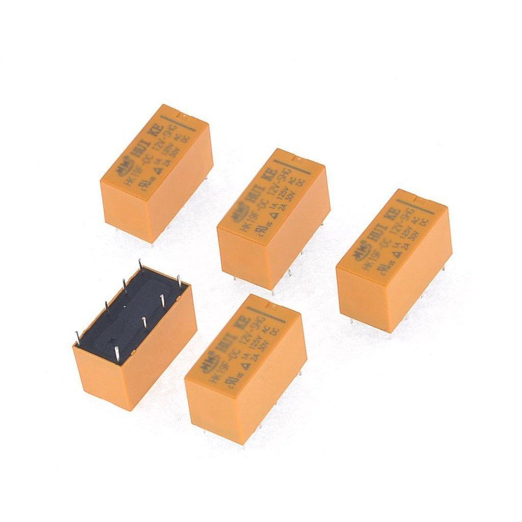 10pcs 8 Pins RELAIS Relais 12V DC Puissance de bobine PCB HK19F-DC12V-SHG