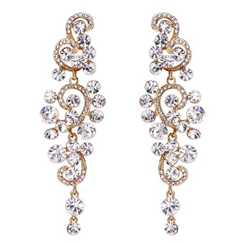 BriLove Wedding Bridal Statement Earrings for Women Bohemian Boho Crystal Floral Hollow Chandelier Dangle Earrings Clear ()