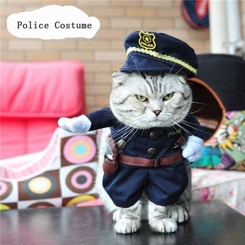 Dog Costume - Funny Cat Costume Halloween Pet Cat Dog Clothes Creative Novelty Cat Kitten Clothes - Cowboy/Police/Nurse/Doctor - 4 Sizes