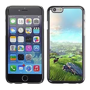 Qstar Arte & diseño plástico duro Fundas Cover Cubre Hard Case Cover para Apple (5.5 inches !!!) iPhone 6 Plus ( Landscape View Mountain Horse Riding Art)