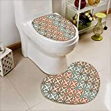 L-QN Bathroom Non-Slip Toilet Mat Seamless Islamic Pattern Ethnic Motifs Decorations Home Print Brown Beige Soft Non-Slip Water