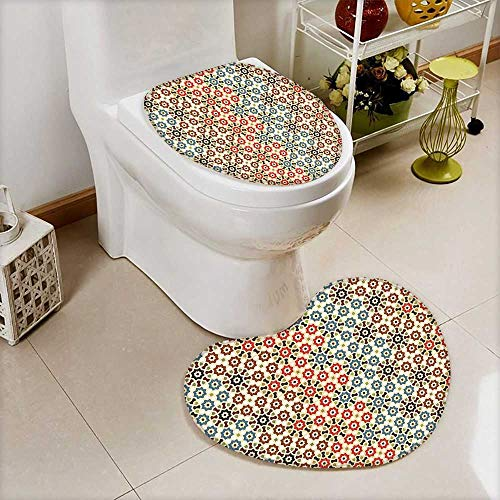 L-QN Bathroom Non-Slip Toilet Mat Seamless Islamic Pattern Ethnic Motifs Decorations Home Print Brown Beige Soft Non-Slip Water by L-QN