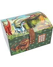 Depesche 11461 Dino World – skattkista med kod, ljud och ljus, ca 15,7 x 20 x 12,5 cm stor, perfekt för små dyrbarheter och hemligheter
