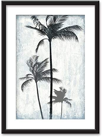 Framed Palm Trees on Retro Style Background Black Picture Frames White Matting