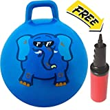 WALIKI TOYS Hopper Ball For Kids Ages 3-6 (Hippity Hop Ball, Hopping Ball, Bouncy Ball With Handles, Sit & Bounce, Kangaroo Bouncer, Jumping Ball, 18 Inches, Blue, Pump Included)