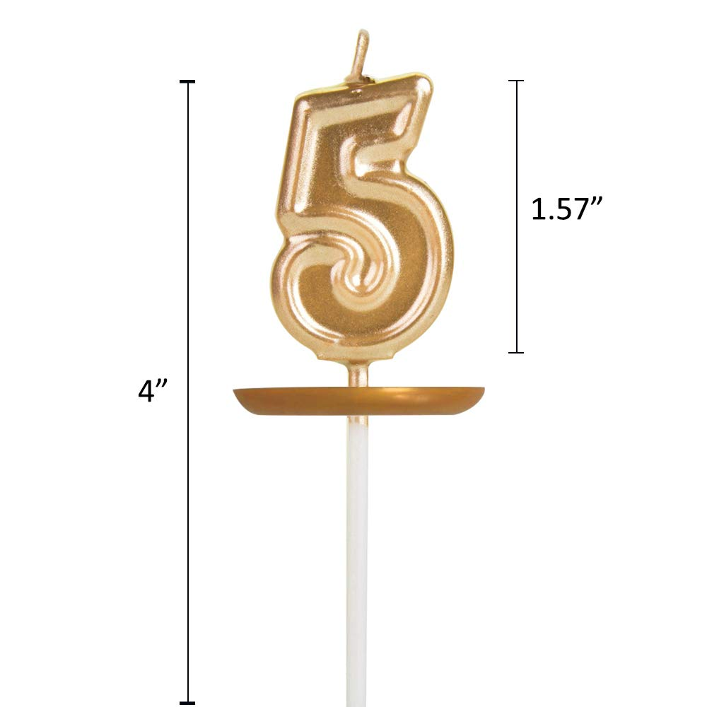 Moropaky Birthday Candles Rose Gold Cake Candles Number Candles 5 Candles Cake Topper Decoration for Birthday Wedding Party