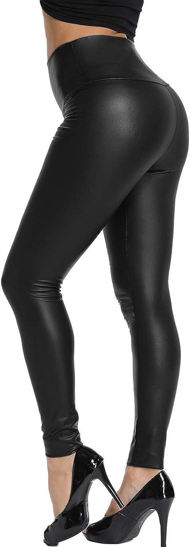 KIWI RATA Women's High Waist Faux Leather Leggings PU Butt Lifting Black Sexy Sport Yoga Pants for Causal