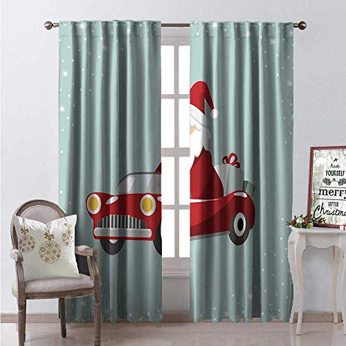 - Hengshu Rhode Island Room Darkening Wide Curtains Santa in a Retro Sports Car Boxes Snowflakes Print Decor Curtains by W84 x L96 Pale Seafoam Vermilion Taupe White
