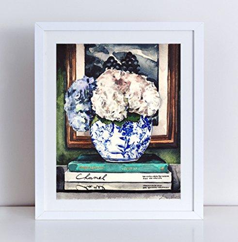 Hydrangeas Art Blue White Ginger Jar Print Chinese Vase Print Asian Decor Chinoiserie Art Gift for Her Flowers Art Print Pretty Art Preppy Print Watercolor Painting Canvas Art Print (Valentino Vase)