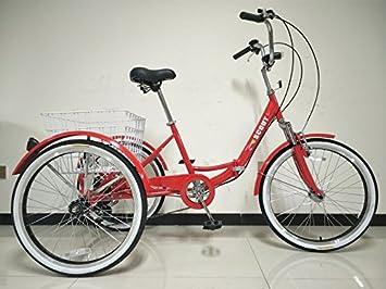 SCOUT® TRIKES - Triciclo para adultos, marco plegable con suspensión, ruedas de 24 pulgadas, marchas Shimano de 6 velocidades, rojo: Amazon.es: Deportes y ...