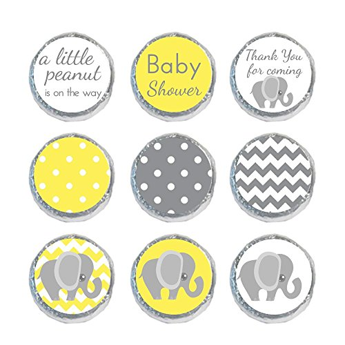 Mini Candy Stickers Yellow & Gray Elephant Set of 324 Labels Tiny 0.75 Inch