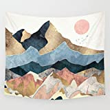 APHER Sunset Golden Mountain Wall Hanging Tapestry for Bedroom Dorm Room Decor 60' x 80'
