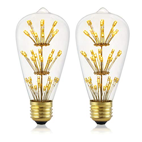 - Vintage LED Edison Bulb, Diamond Shaped LED Bulb,Mood Lighting Warm Yellow Clear Glass, LED Filament-ST64-2 Pack